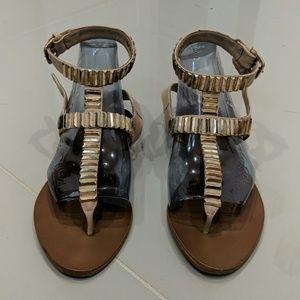 ZARA nude studded gladiator sandals